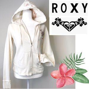 Roxy Ivory sweatshirt brown embroidery Beach ocean